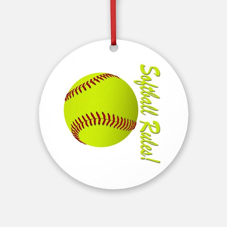 softball rules Round Ornament
