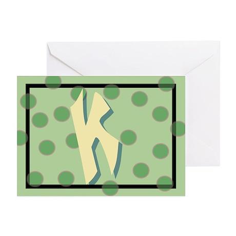 """K"" Pokla-Dot Greeting Cards (Pk of 10)"