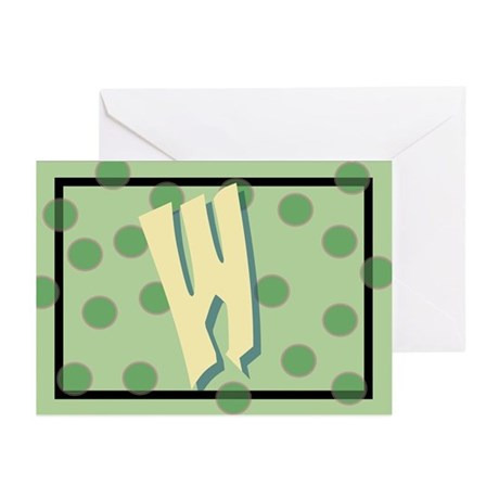 """W"" Pokla-Dot Greeting Cards (Pk of 10)"