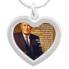 Eisenhower Every Gun round Silver Heart Necklace