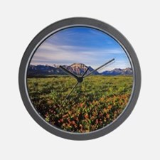 Prairie Smoke wildflowers in Waterton L Wall Clock