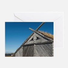 Replica of Norse boat house with tra Greeting Card