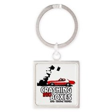 Crashing Into Boxes Square Keychain