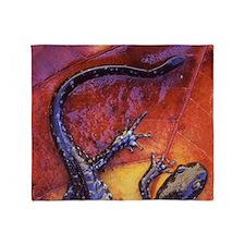Quebec. Blue-spotted salamander on f Throw Blanket