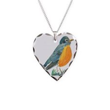 red robin transparent Necklace Heart Charm