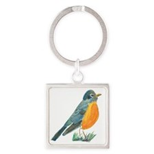 red robin transparent Square Keychain