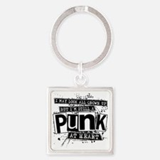 Punk At Heart Square Keychain