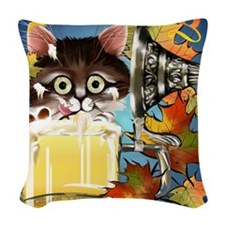 Happy Oktoberfest Kitty Poster Woven Throw Pillow