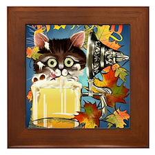 Happy Oktoberfest Kitty PosterP Framed Tile