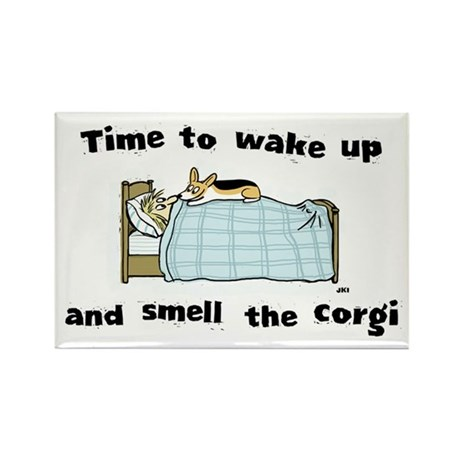 Wake Up & Smell The Corgi Rect Magnet (100 pack)