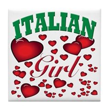 italian girl(blk) Tile Coaster