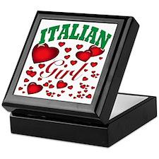 italian girl(blk) Keepsake Box