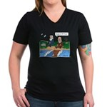 Fishing With Moses Women's V-Neck Black T-Shirt