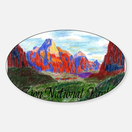 Zion: Down Canyon Oval Decal