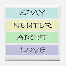 spay neuter adopt love 1-001 Tile Coaster