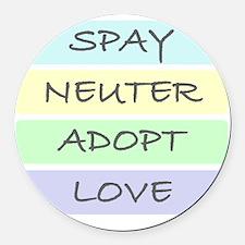 spay neuter adopt love 1-001 Round Car Magnet