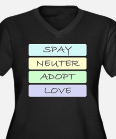 spay neuter  Women's Plus Size Dark V-Neck T-Shirt
