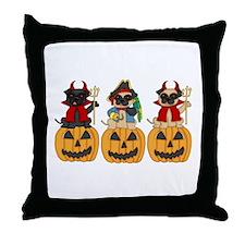 Halloween Trick or Treat Pugs Throw Pillow