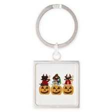Halloween Trick or Treat Pugs Square Keychain