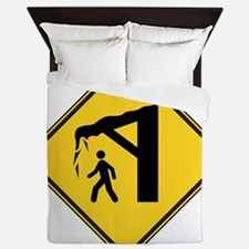 warningSignFallingIce Queen Duvet