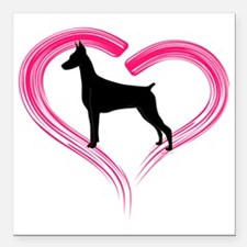 "DobermanLove Square Car Magnet 3"" x 3"""