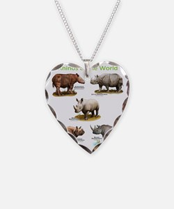 Rhinos of the World Necklace Heart Charm