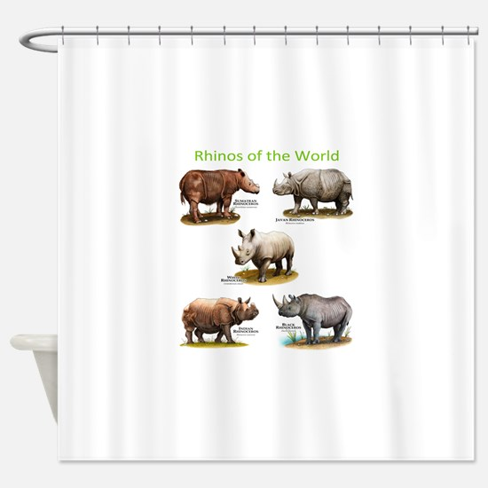 Rhinos of the World Shower Curtain