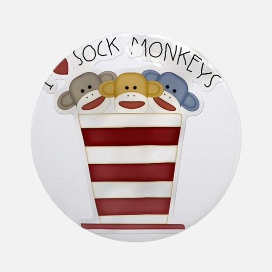 I love sock monkeys-001 Round Ornament