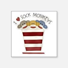 "I love sock monkeys-001 Square Sticker 3"" x 3"""