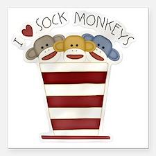 "I love sock monkeys-001 Square Car Magnet 3"" x 3"""