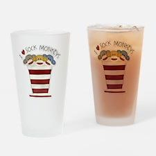 I love sock monkeys-001 Drinking Glass