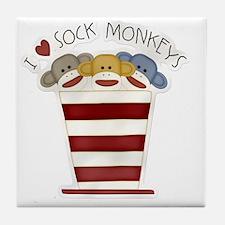 I love sock monkeys-001 Tile Coaster