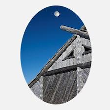 Replica of Norse boat house. Origina Oval Ornament