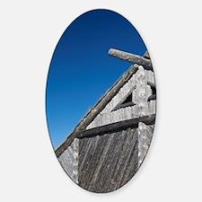 Replica of Norse boat house. Origin Sticker (Oval)