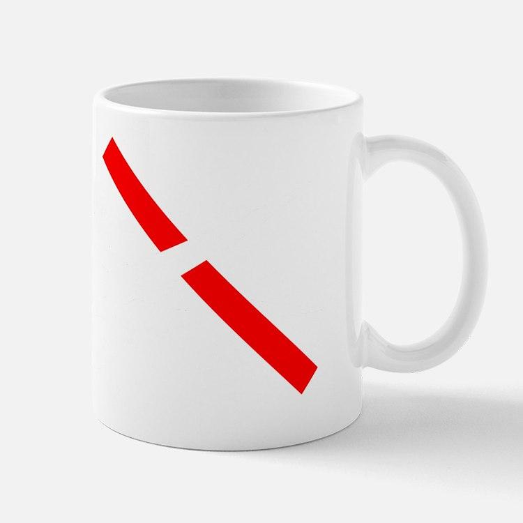 11x11 cut through red tape white on tra Mug