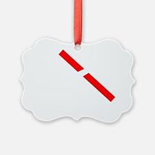 11x11 cut through red tape white  Ornament