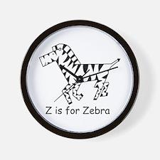 Z is for Zebra Wall Clock