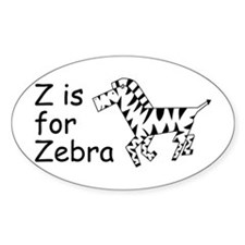 Z is for Zebra Oval Decal