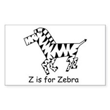 Z is for Zebra Rectangle Decal