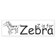 Z is for Zebra Bumper Bumper Sticker