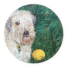 Mouse Wheaten Round Car Magnet