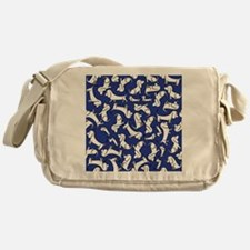 basset_small_print_blue Messenger Bag
