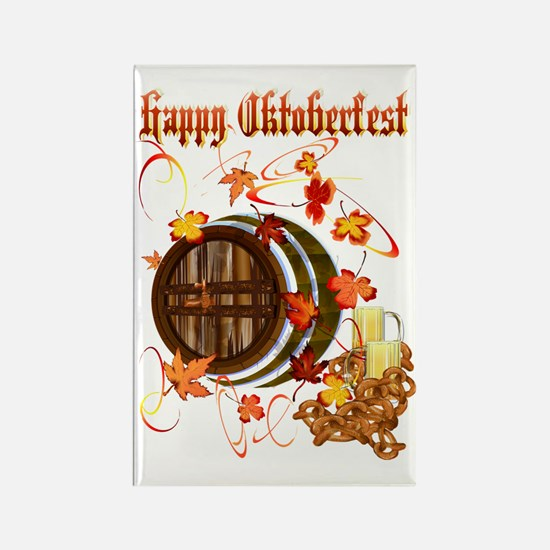 Happy Oktoberfest Beer Barrel Tra Rectangle Magnet
