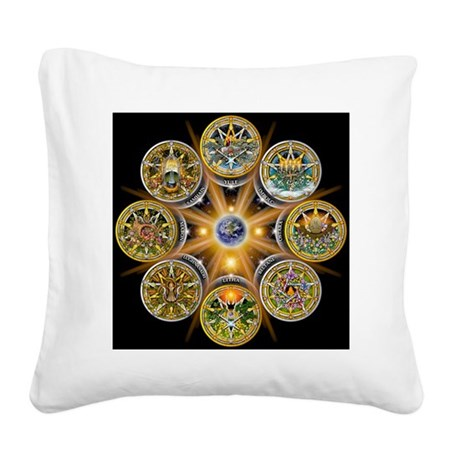 Witches Wheel of the Year Square Canvas Pillow