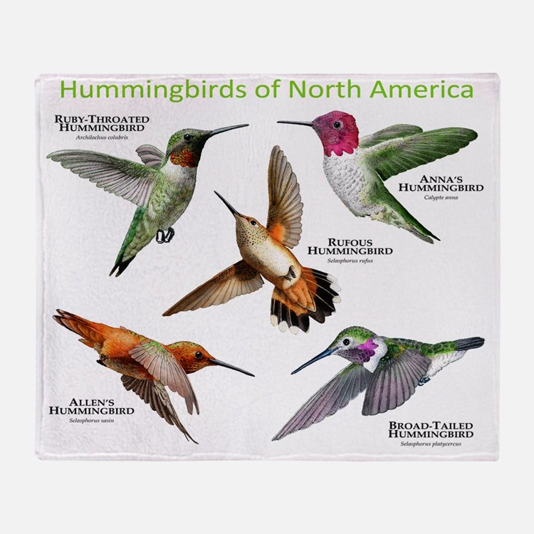 Hummingbirds of North America Throw Blanket