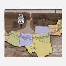 Route 66 Poster Sepia Throw Blanket