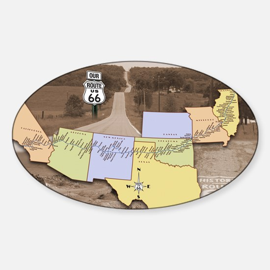 Route 66 Poster Sepia Sticker (Oval)