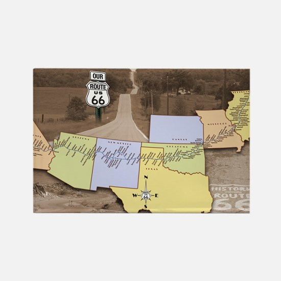 Route 66 Poster Sepia Rectangle Magnet