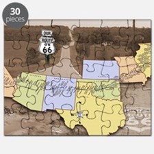 Route 66 Poster Sepia Puzzle