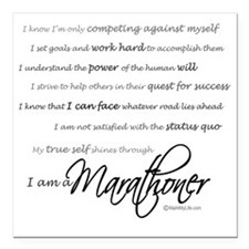 "I Am a Marathoner - Scri Square Car Magnet 3"" x 3"""